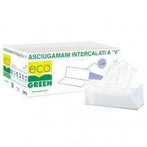 """ASCIUGAMANO INTERFOGLIATO  """" V """"  ecogreen 2v (5000pz) 20conf"""